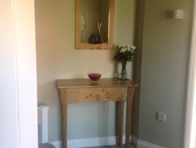 Console Table & matcking mirror in situ, oak with pippy oak features