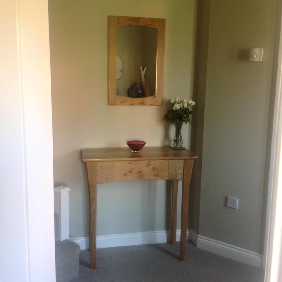 Oak Console Table Matching Mirror Real Wood Studios