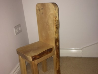 childrens chair with natural edge and butterfly feature