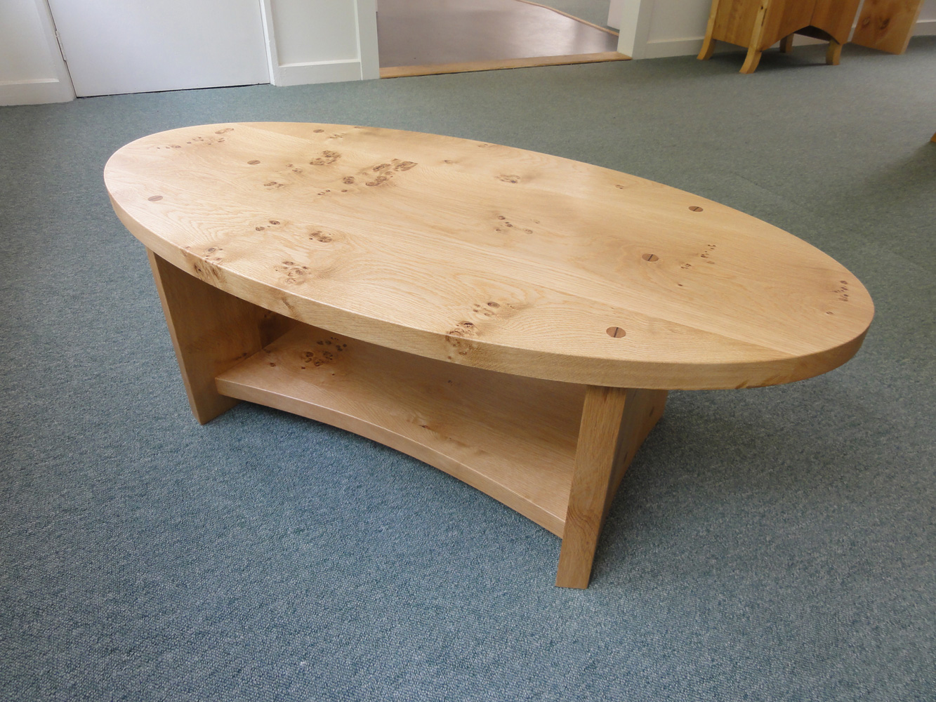Pippy oak oval coffee table real wood studios Wood oval coffee table