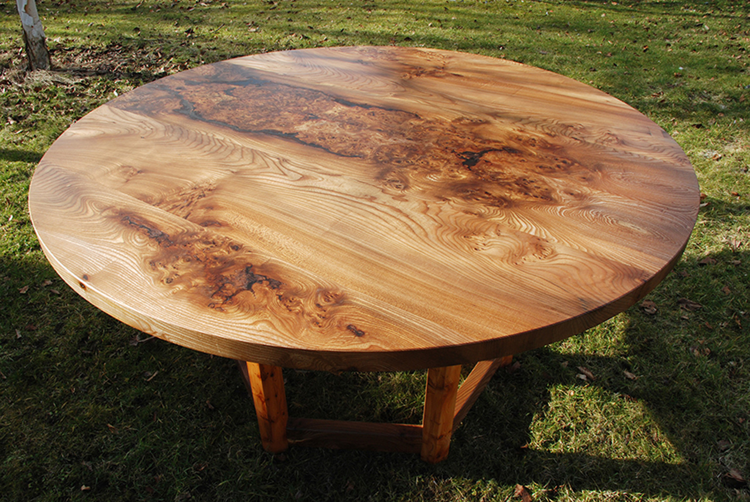 Circular Elm U0026 Yew Dining Table